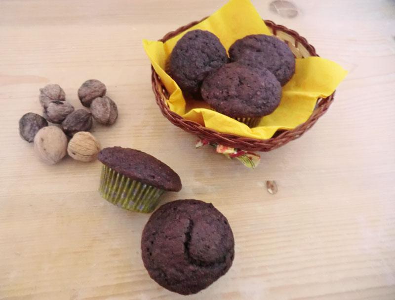 muffin noci e cioccolato